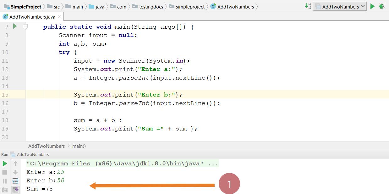 Add two numbers java program