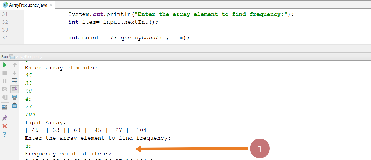 Array Frequency Count Java Program