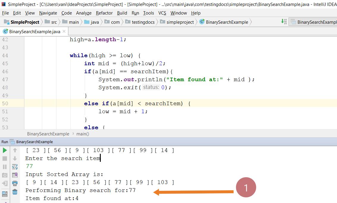 Binary Search Java Program