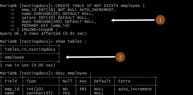 Create Table MySQL