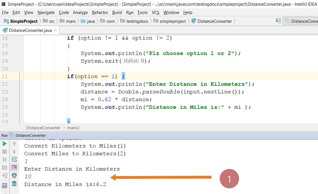 Distance converter java program
