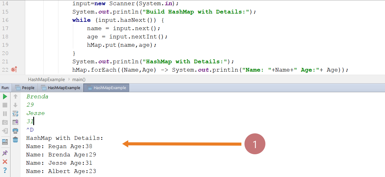 HashMap Sample Java Program