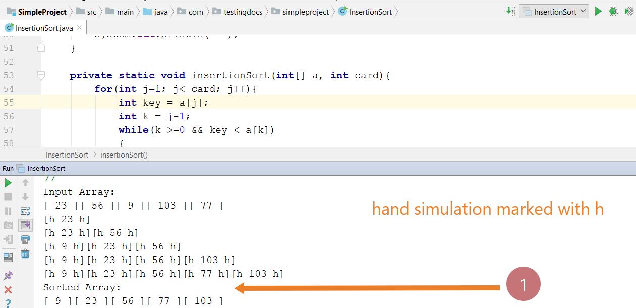 InsertionSort Java Program