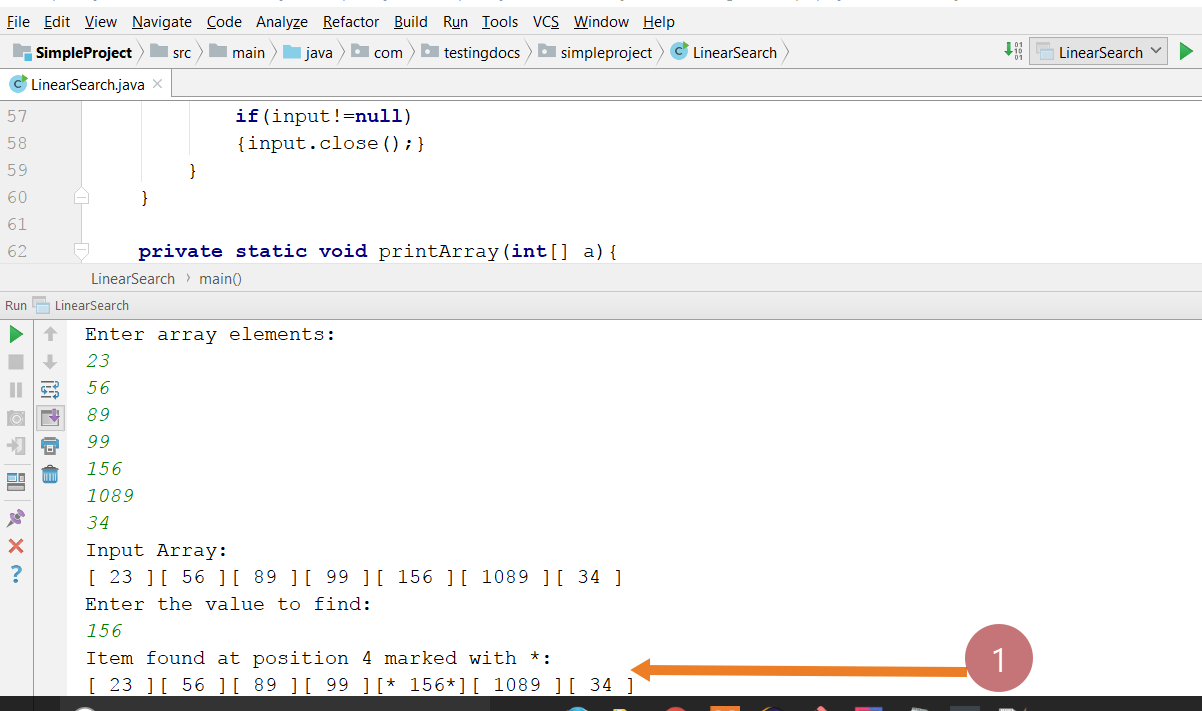 Linear Search Java Program