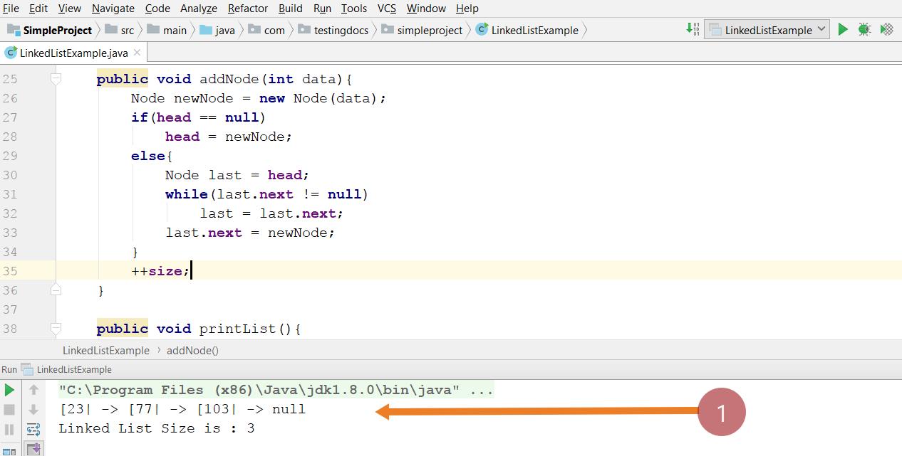 Single Linked List Java Program
