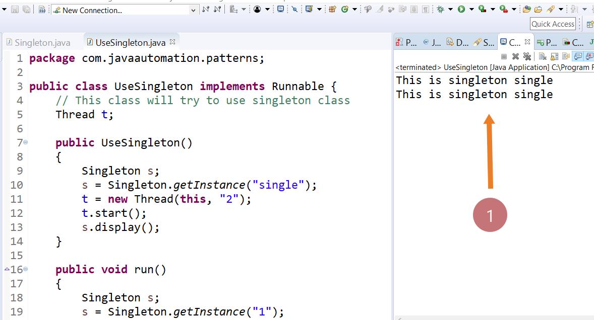 Singleton Java program