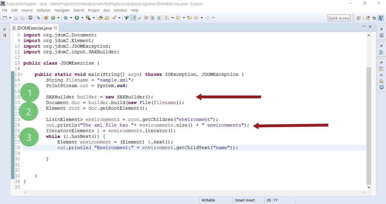 XML file parsing JDOM