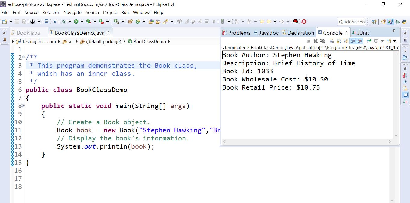 Book Demo Java Class