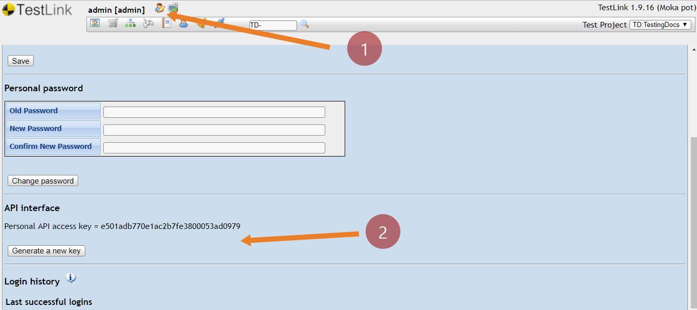 Generate TestLink API Key