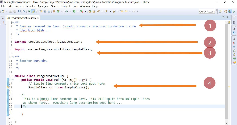 Java Automation Program Structure