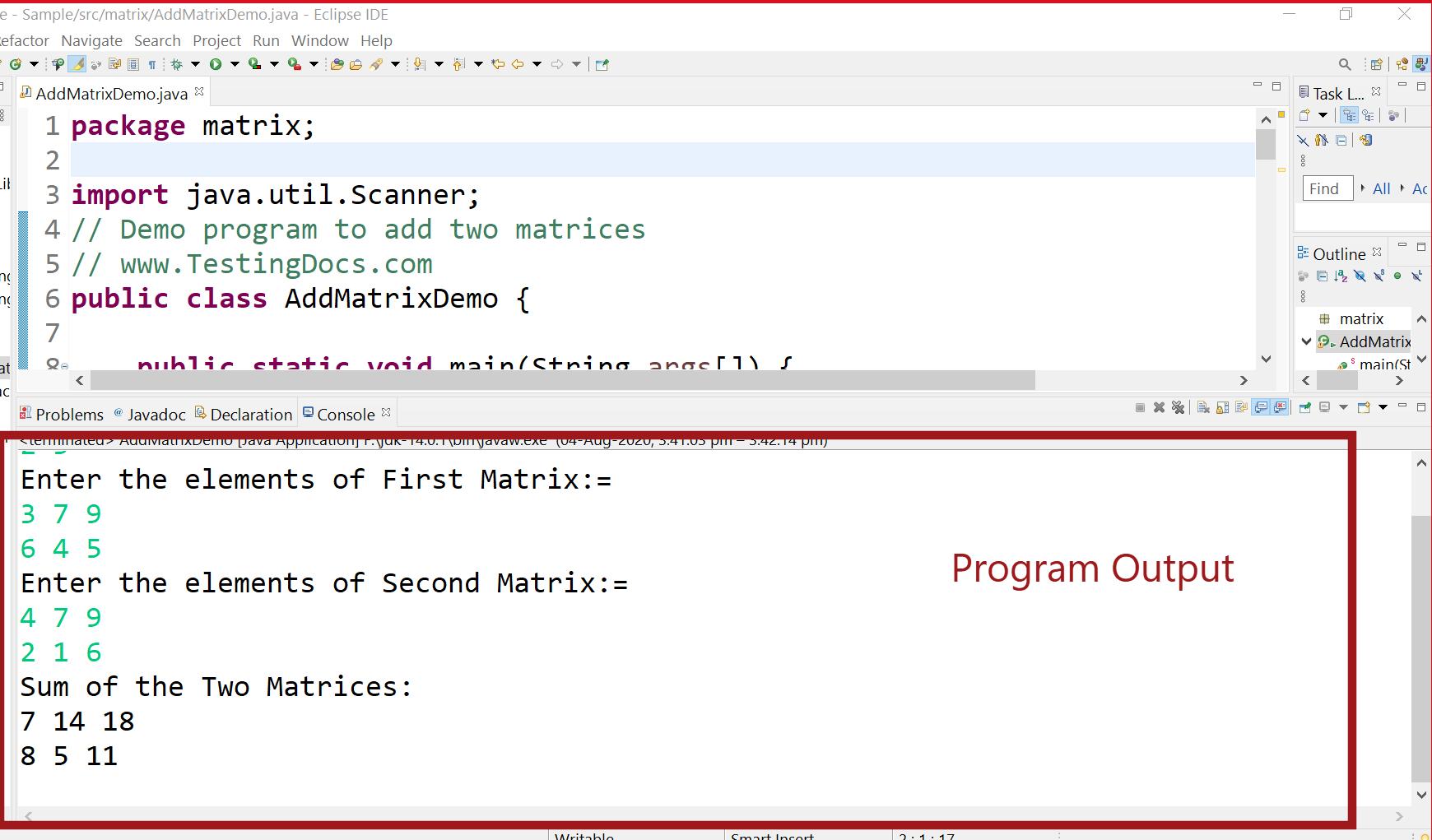Adding two matrix Java program