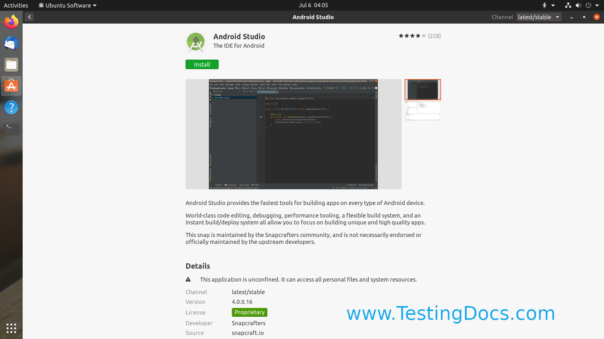 Android Studio Install Linux