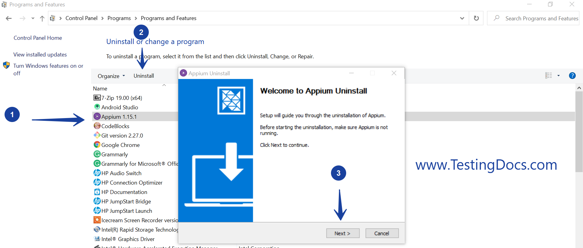 Uninstall Appium Windows