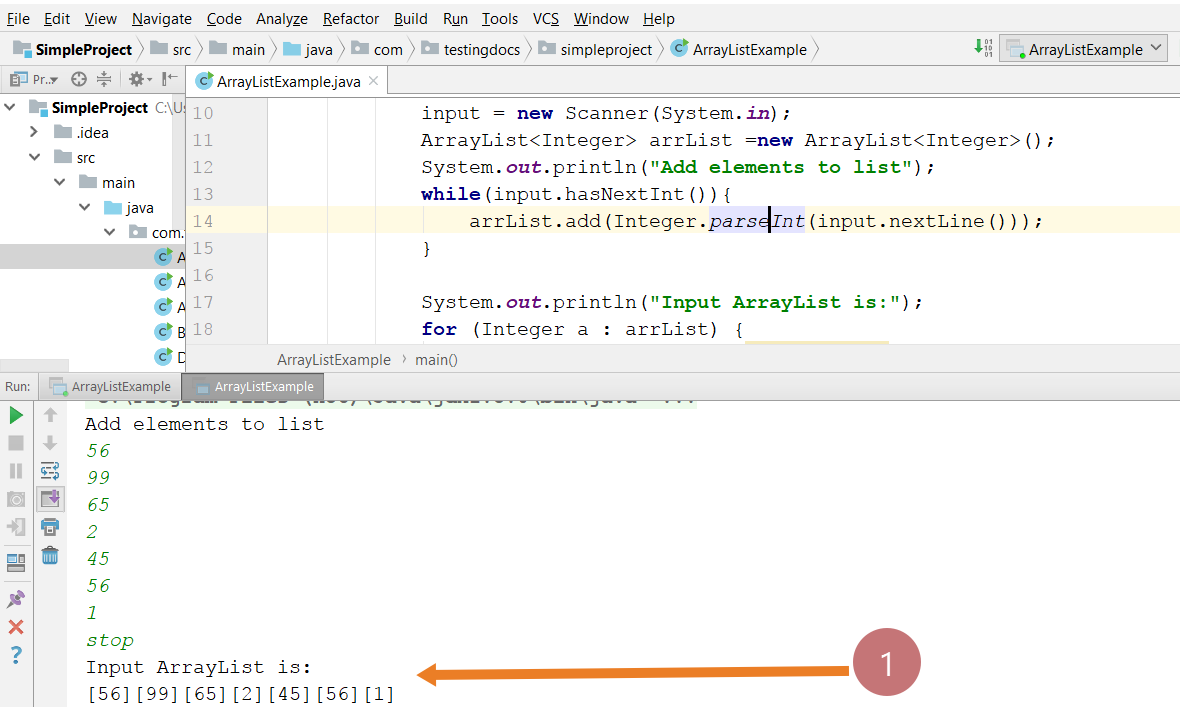 ArrayList sample program