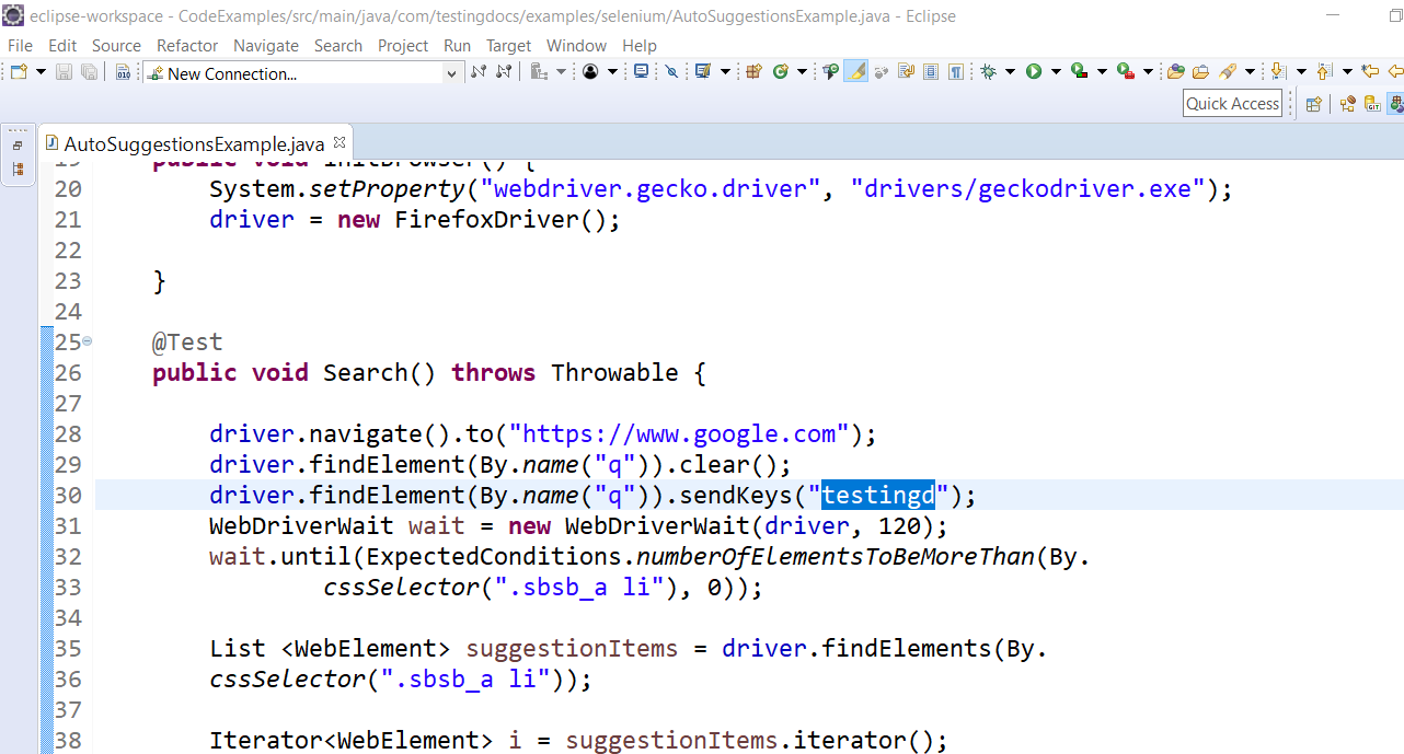 Auto suggestions Test method Java