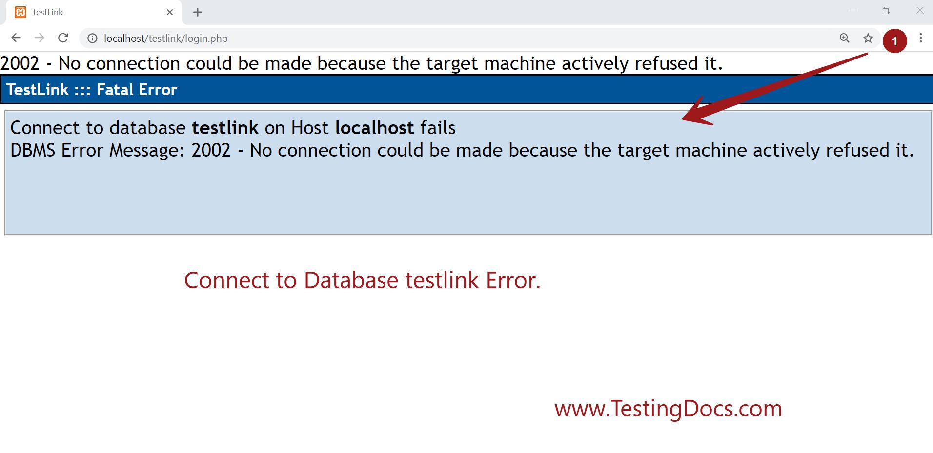 Connect To Database Error Testlink