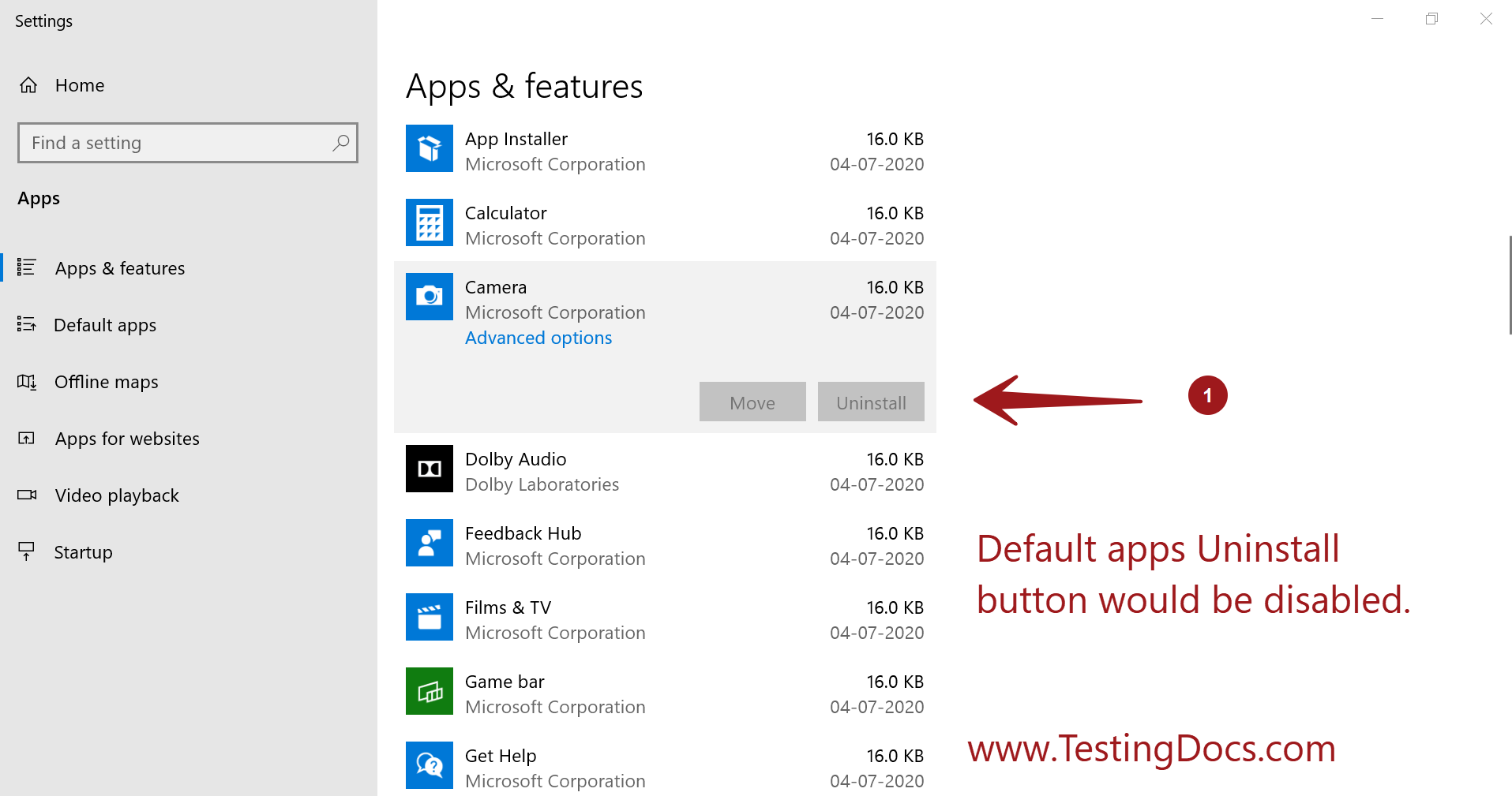 default apps windows 10