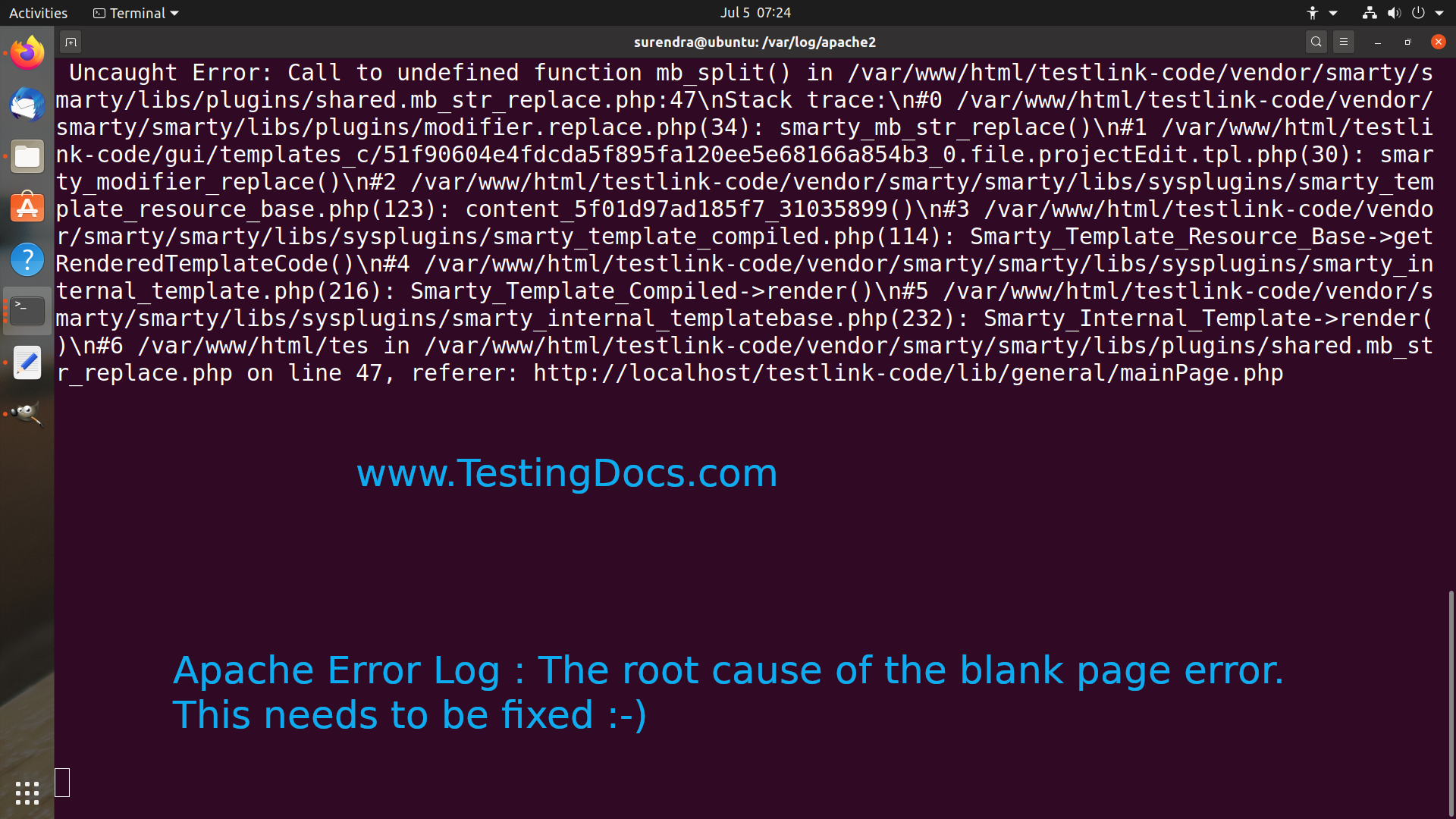 Error log Apache Root cause