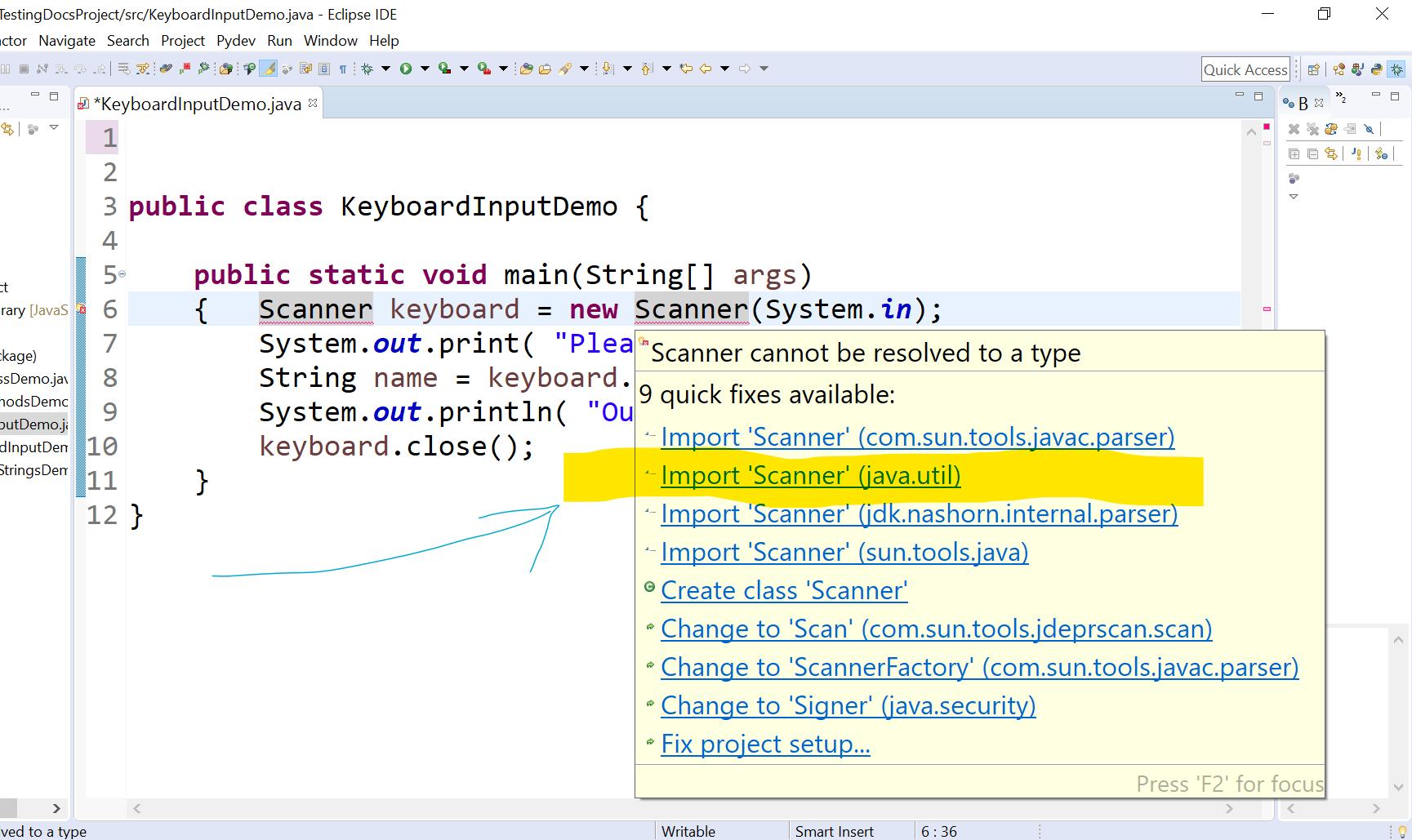 Import Scanner Java Util Class