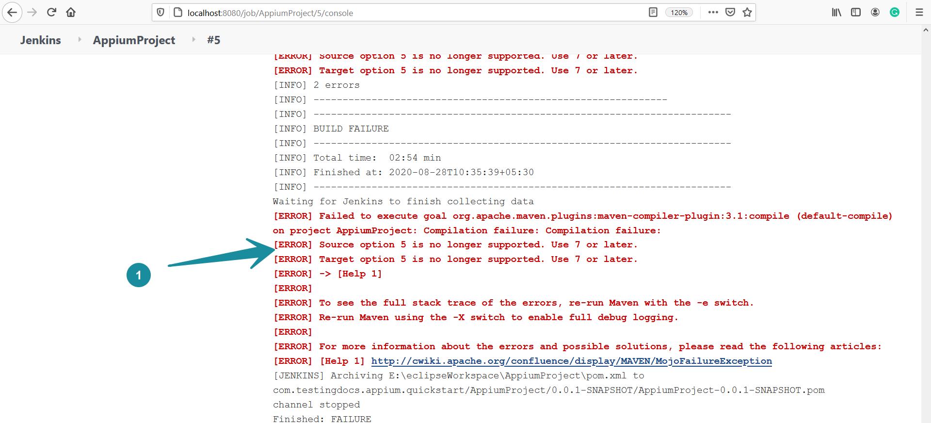 Jenkins Error Source and Target