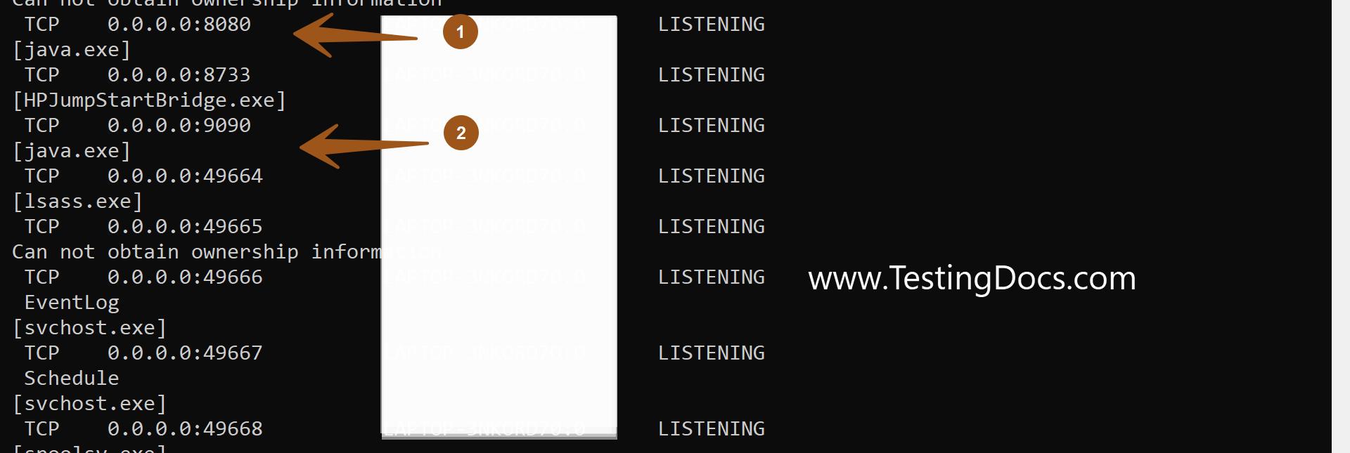 Listening Ports On Windows Machine
