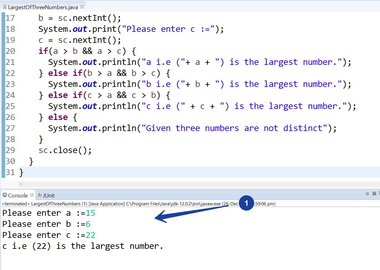 Largest of Three Numbers Java program