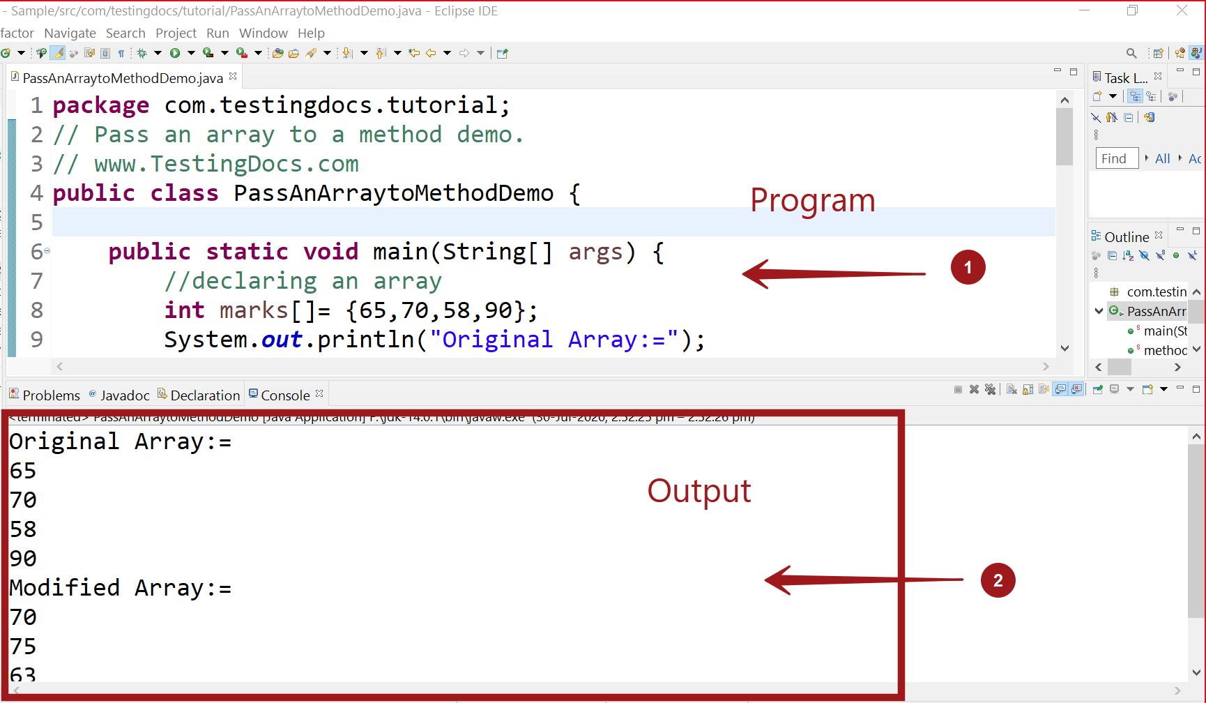 Pass an array to Method Java