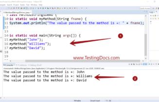 Passing String to Java Method