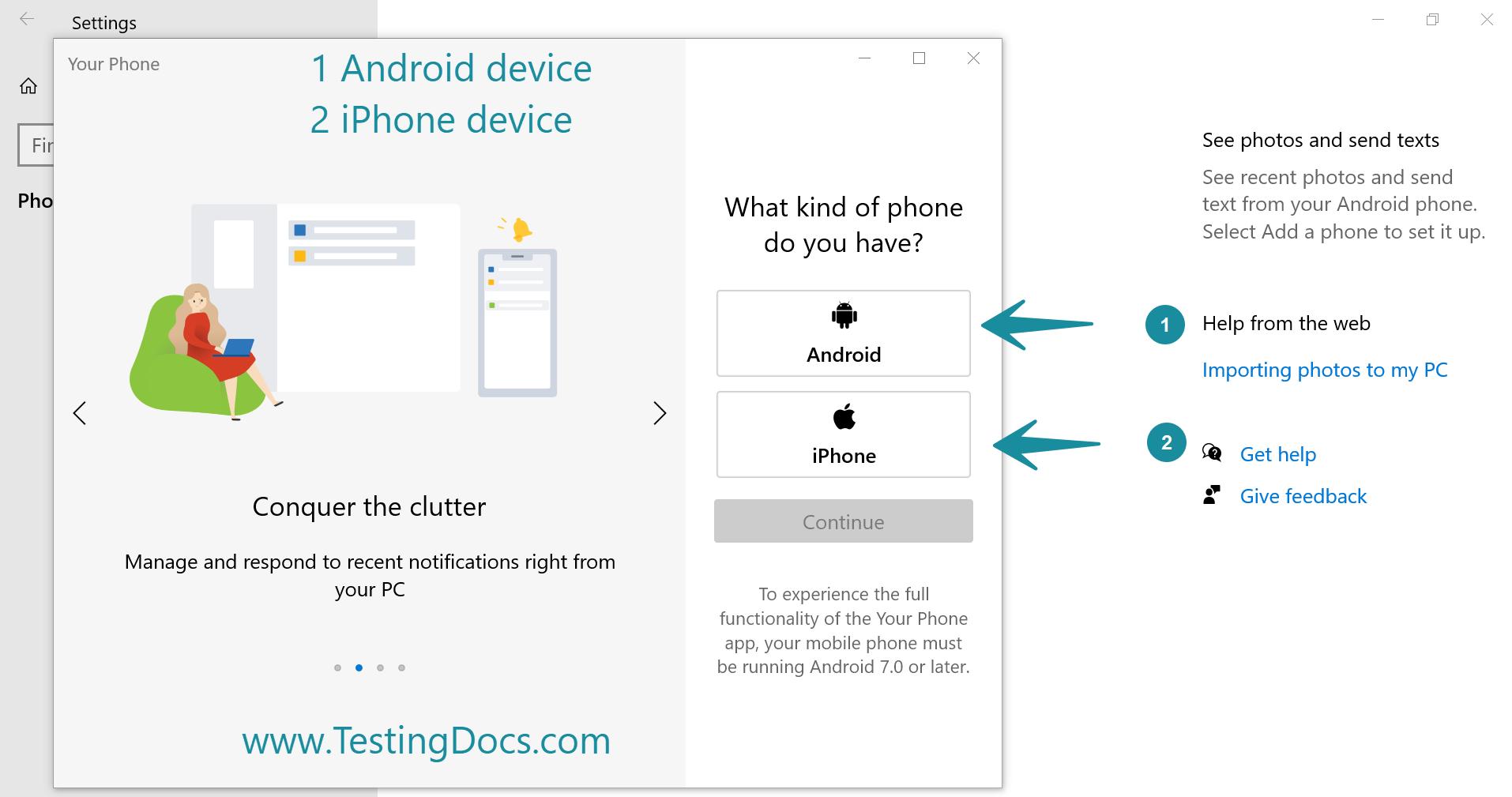 Phone Choice Screen