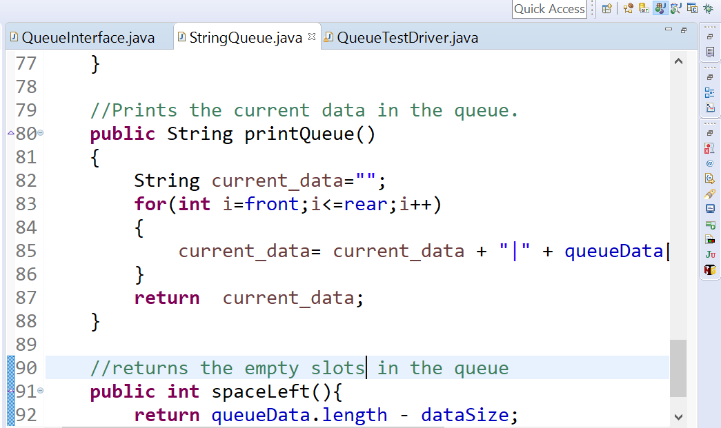 Queue Java Program