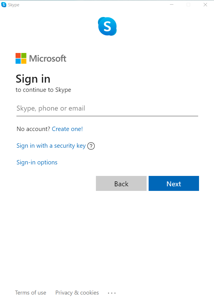 Skype Application on Windows
