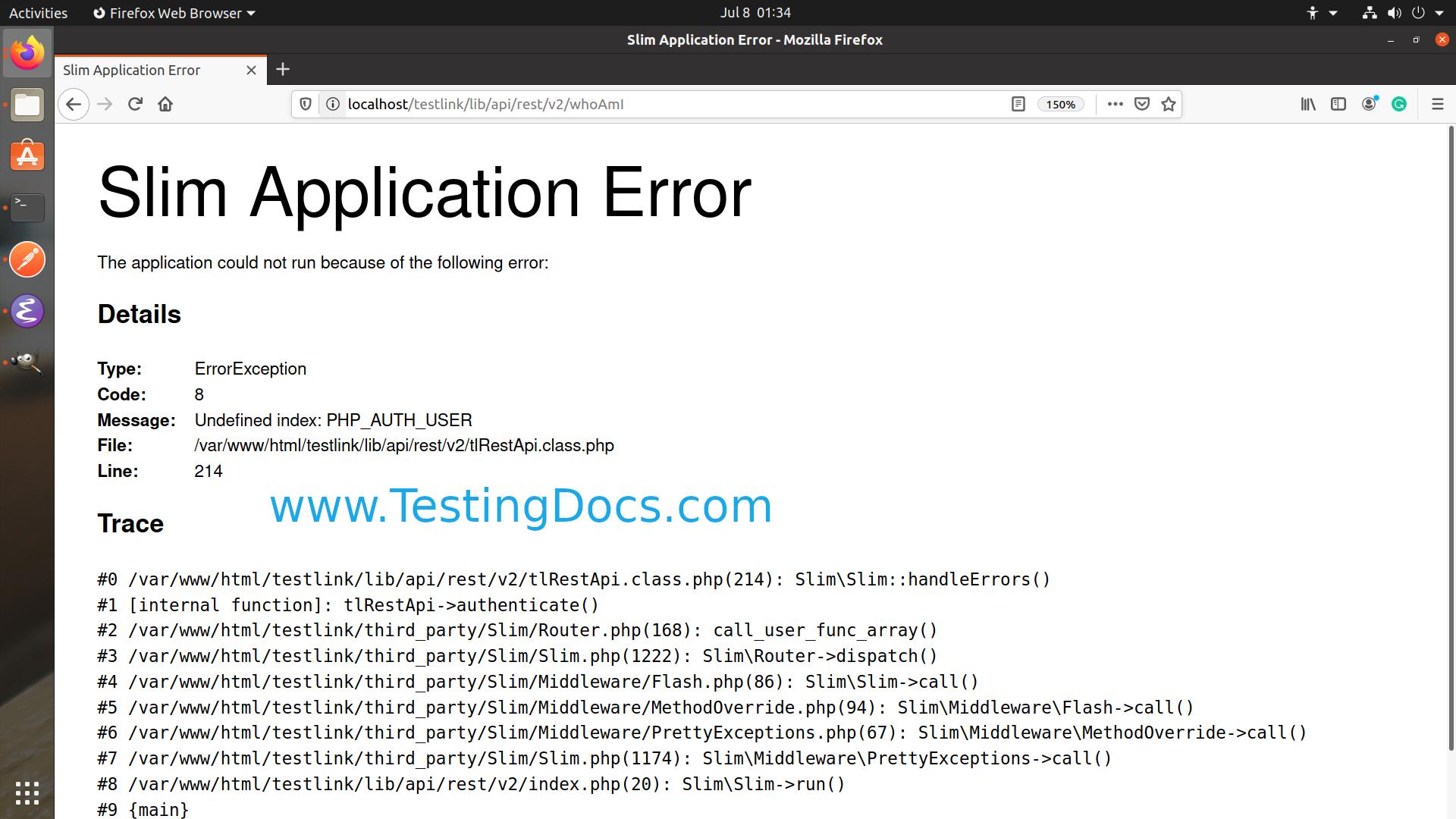 Slim Application Error