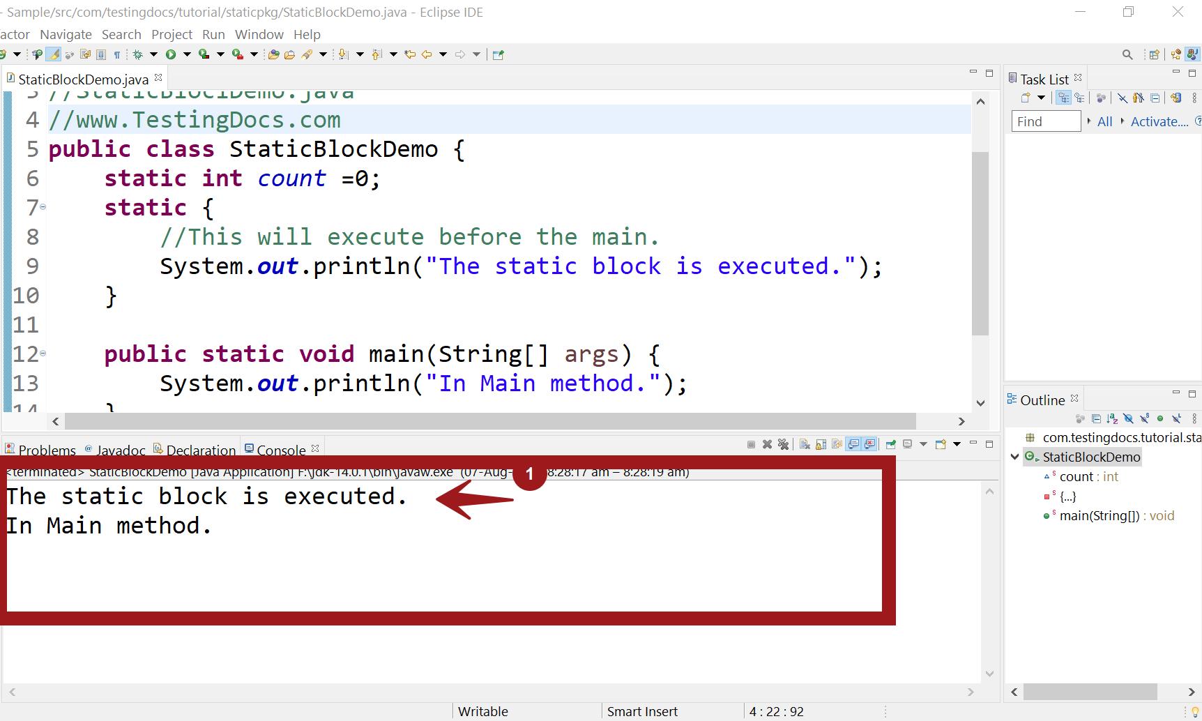 Static block Demo Java