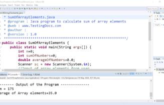 Sum and Average Java Program