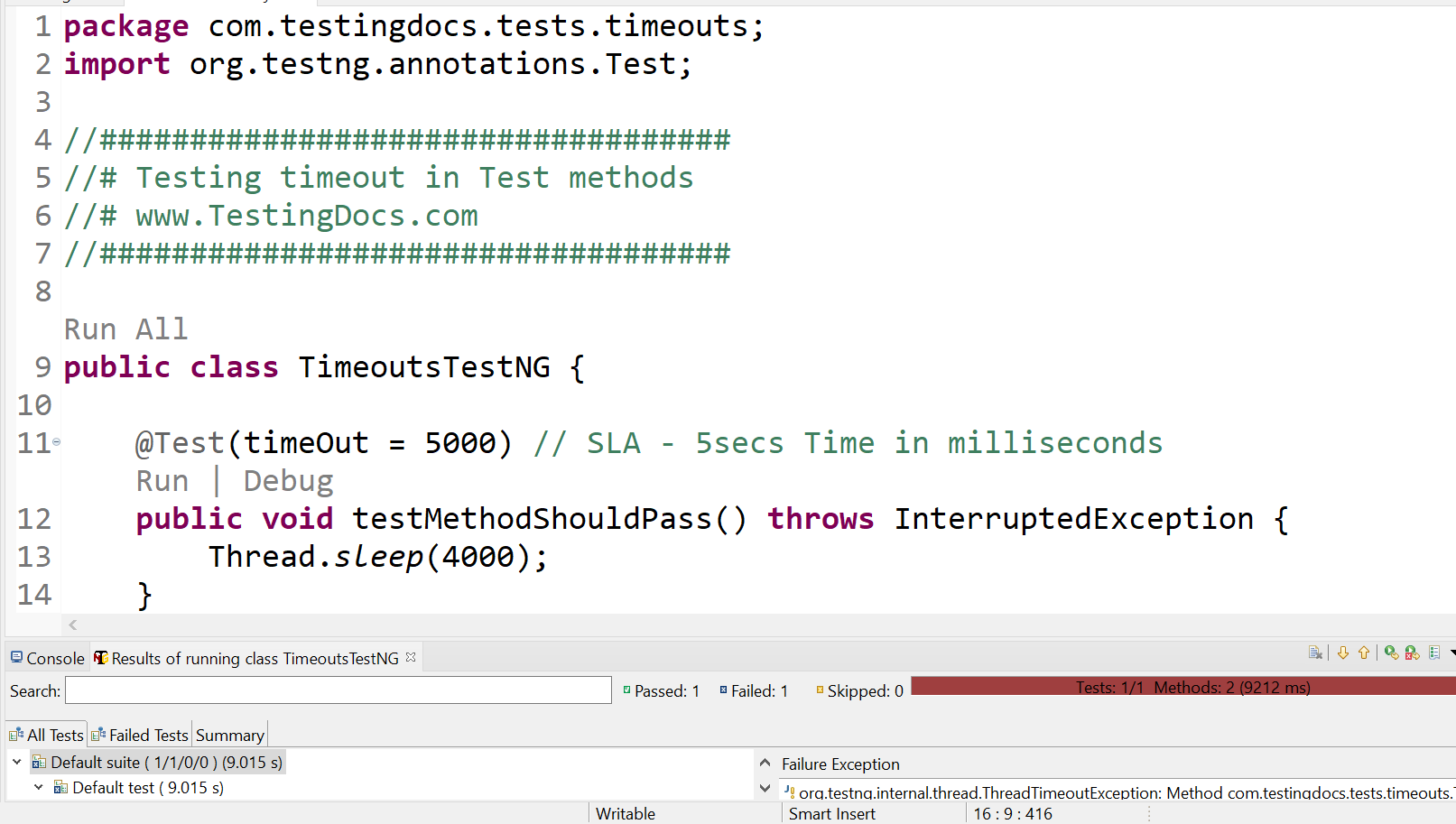 Timeout Test methods in TestNG