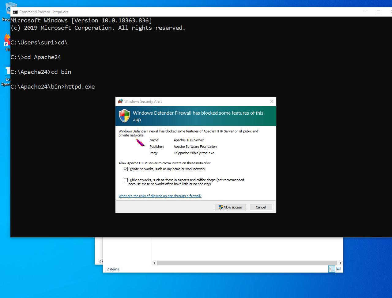 Windows Defender Firewall Apache