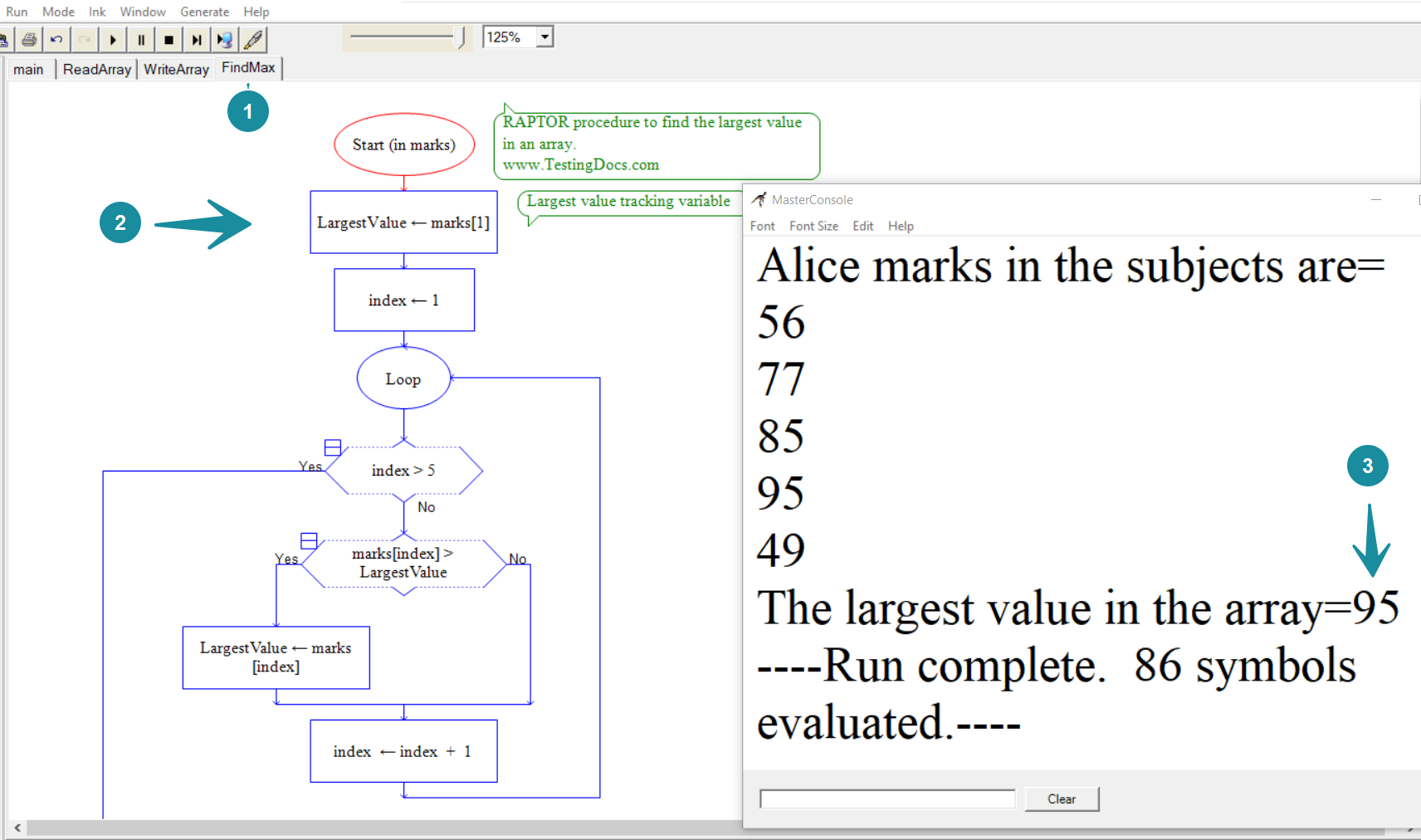 In this post, we will create a flowchart to find the largest value in an array. We will use the RAPTOR flowchart. We will keep track the largest value in an array using a tracking variable