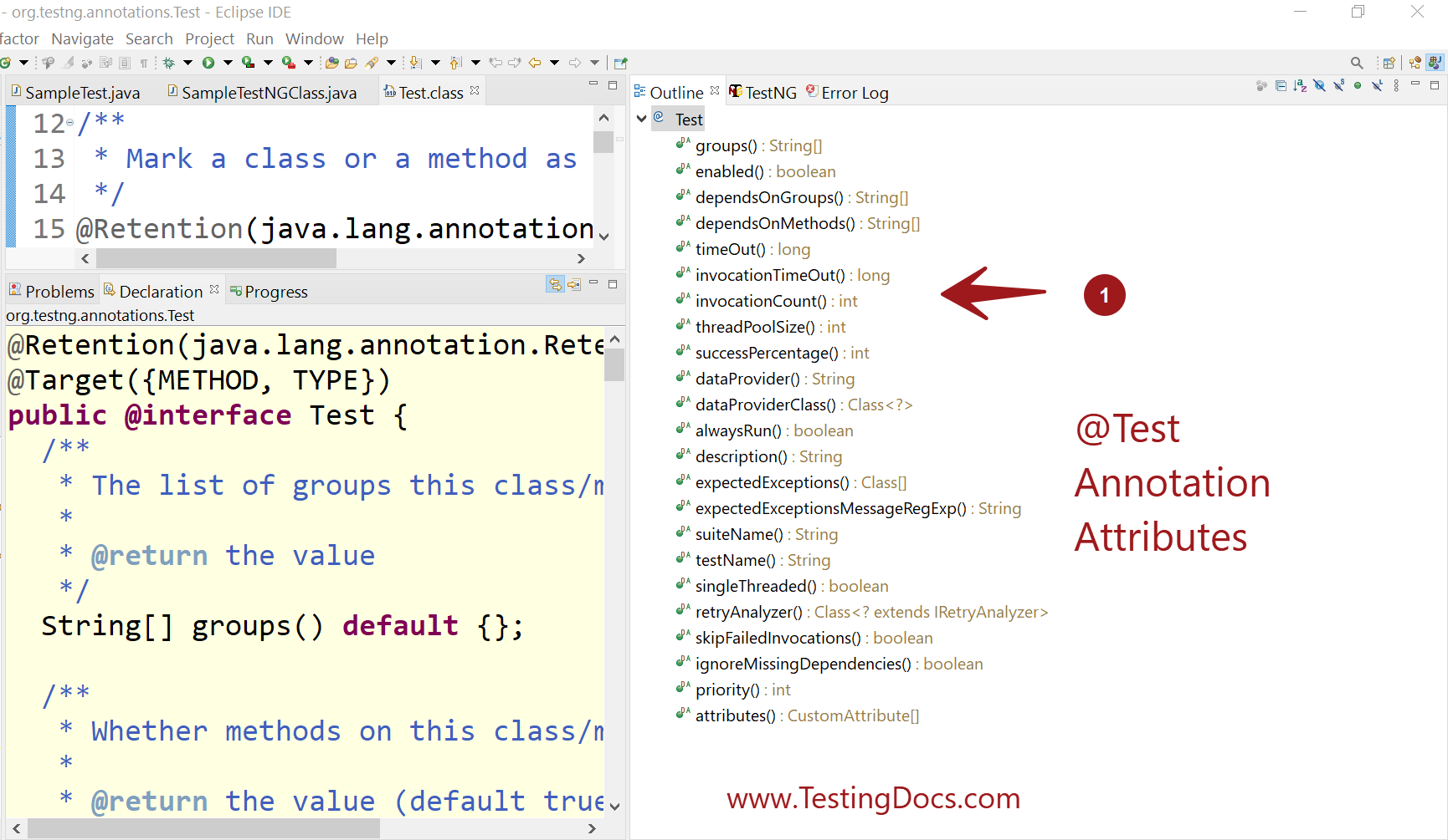 @Test Annotation Attributes