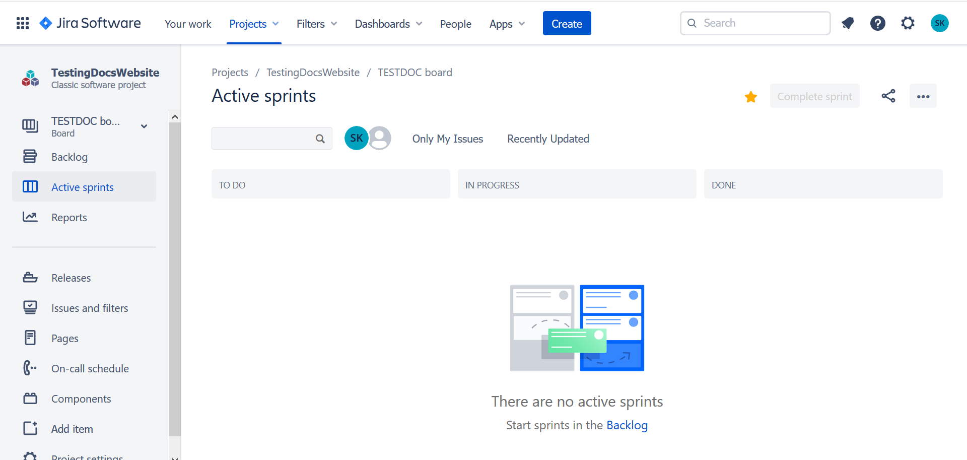 Create Sprint in Agile Dashboard