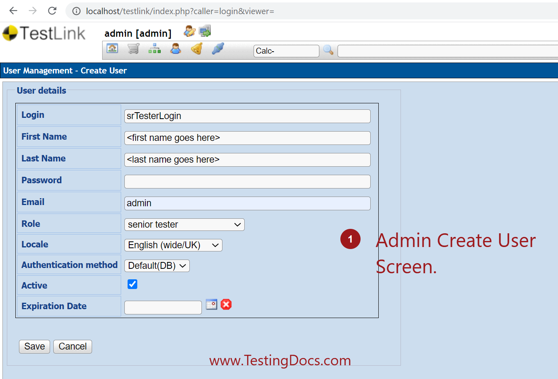 Admin Create User Screen