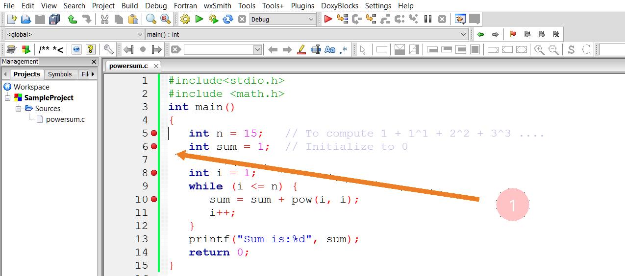 Debug a C Program in Code::Blocks