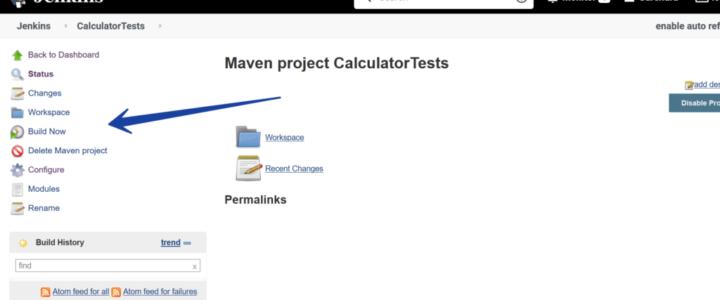 Build Now Calculator Tests Jenkins
