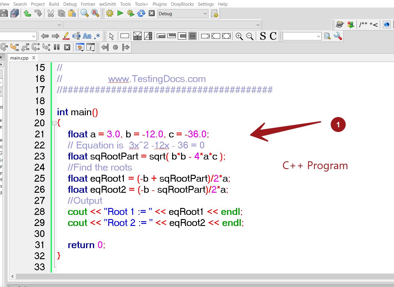 C++ Program Root Finding