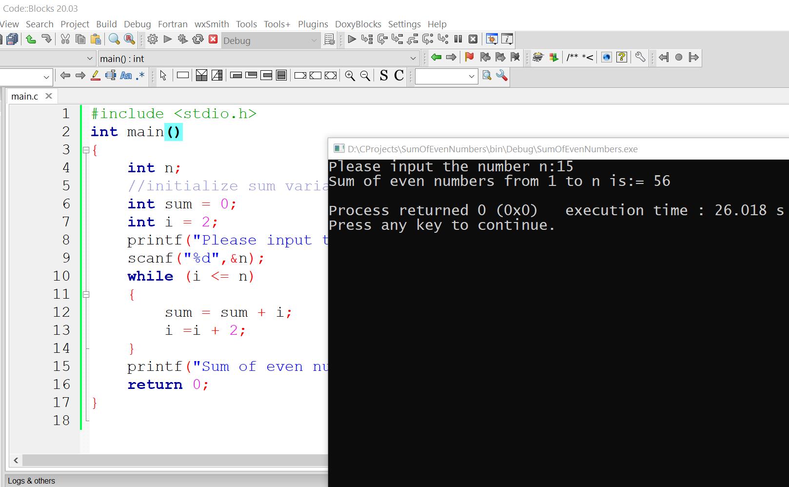 C Program Sample Output