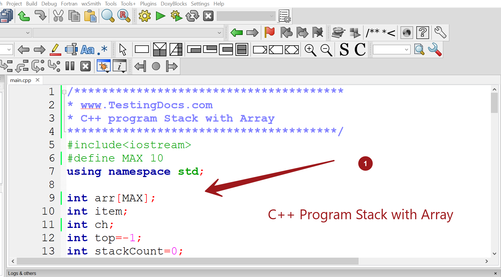 C++ Program Stack with Array