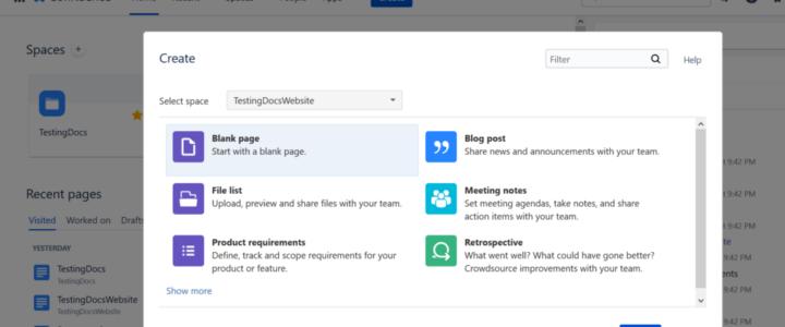 Create Confluence Page Create Buton