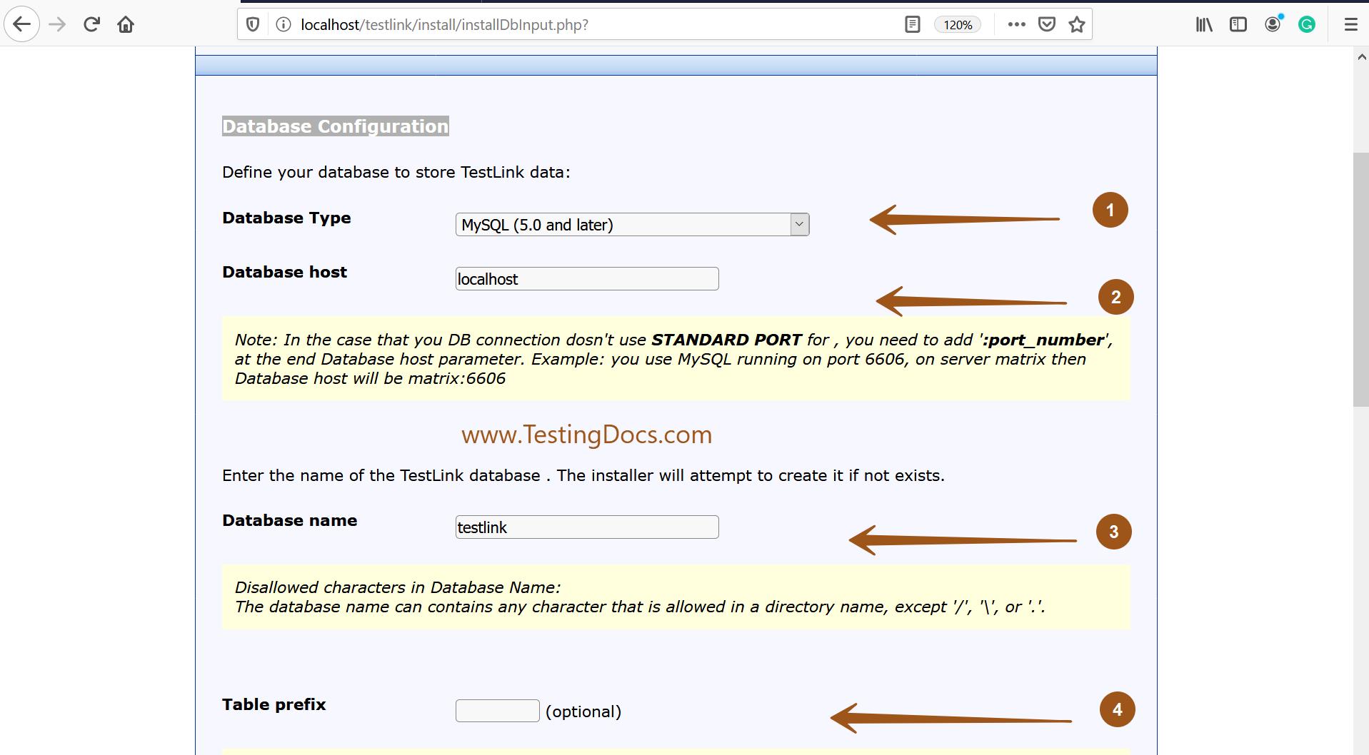 MySQL Database Configuration