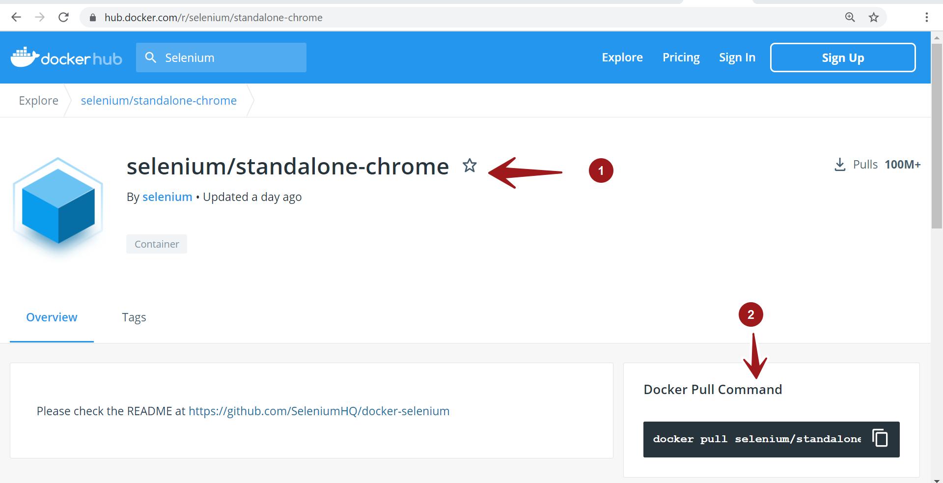 Docker Hub Standalone Chrome
