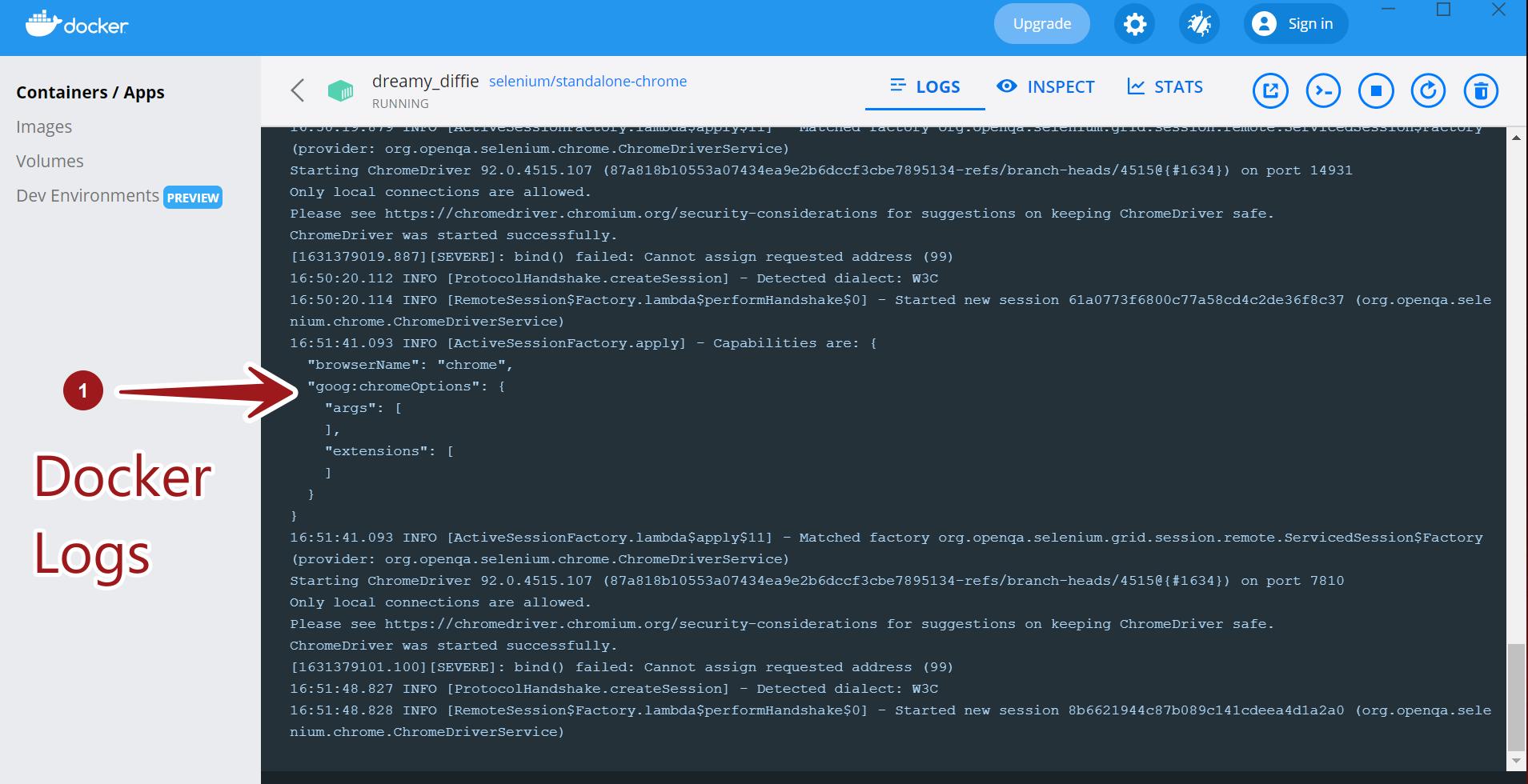 Docker Logs TestingDocs
