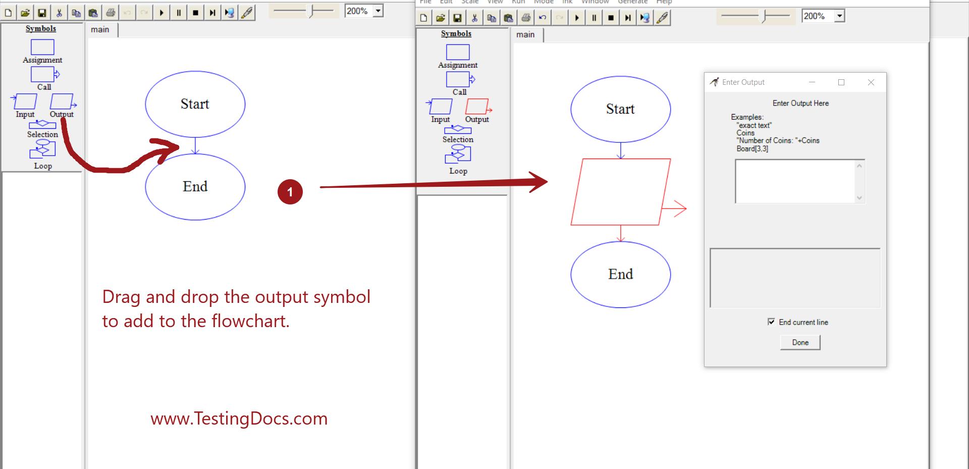 Drag and Drop Output Symbol
